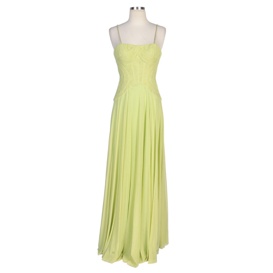 Alberto Makali Citron Evening Dress with Interwoven Chain Straps and Wrap