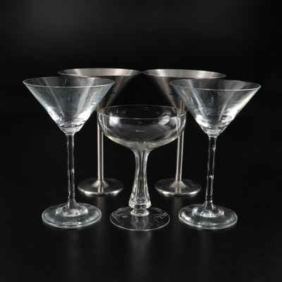 Stainless Steel and Glass Martini Glasses and Hollow Stem Champagne Coupe