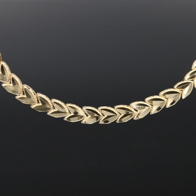 14K Graduated Foliate Necklace