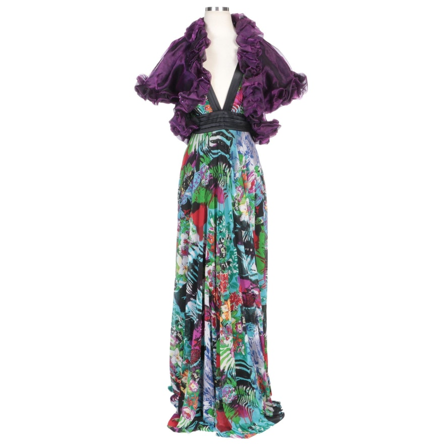 Alberto Makali Floral Patterned Evening Gown with Diane Freis Purple Shrug