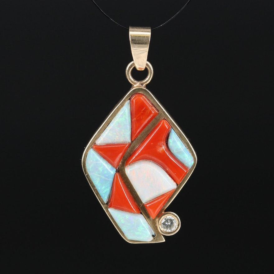 14K Opal and Coral Geometric Pendant with Diamond Accent