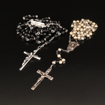 Rosary Beads with Sterling and Faux Pearl Beads
