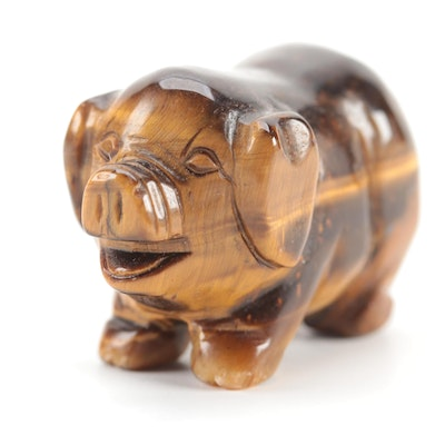 Carved Tiger's Eye Pig Figurine
