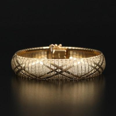 14K Fancy Link Cuff Bracelet
