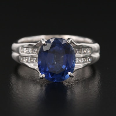 18K Sapphire and Diamond Ring with GIA Report
