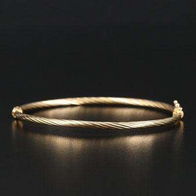 18K Twisted Hinged Bangle