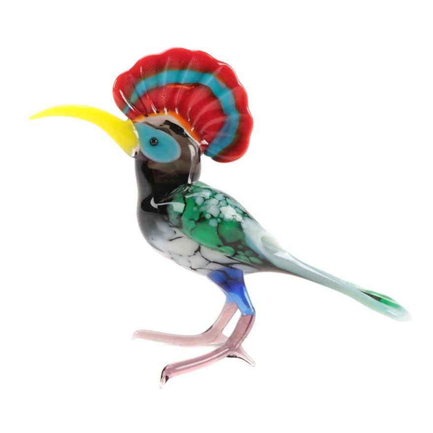 Blown Glass Hoopoe Bird Figurine