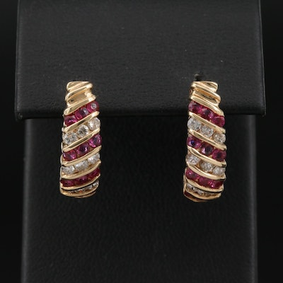 14K Ruby and Diamond J-Hoop Earrings