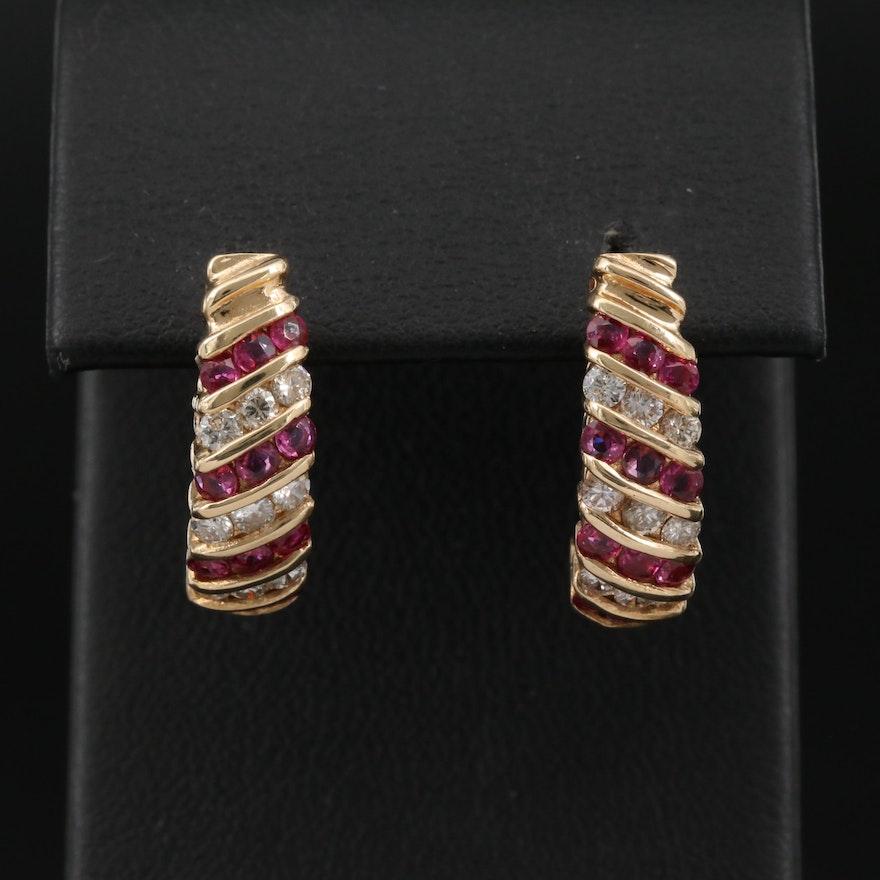 14K Ruby and Diamond J-Hoop Earrings