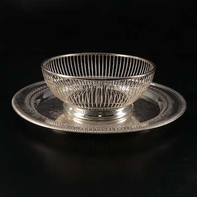 Gorham Silver Plate Basket and Wm. Rogers Silver Plate Pierced Tray