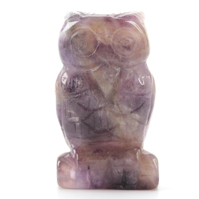 Carved Agate Owl Figurine