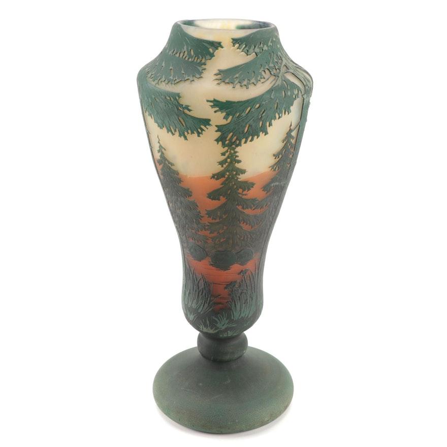 Daum Evergreen Sunset Cameo Glass Vase, Early 20th Century