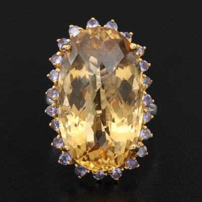 Sterling Citrine and Tanzanite Statement Ring