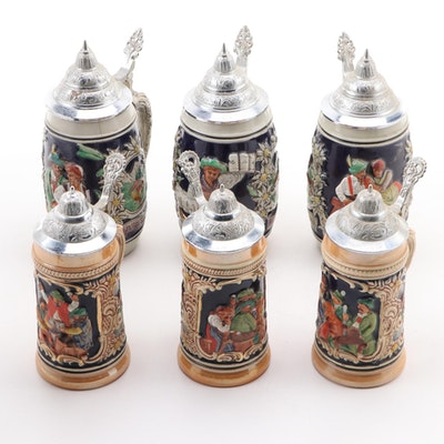 German Stoneware Beer Steins with Pewter Lids, Mid to Late 20th Century