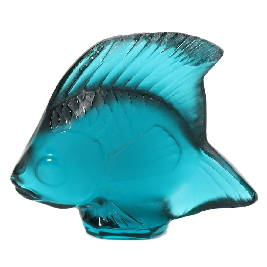 """Lalique Turquoise """"Fish"""" Crystal Figurine"""