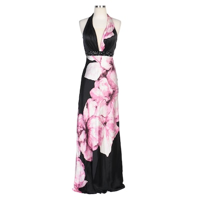 Alberto Makali Floral Printed Silk Halter Sheath Gown with Beading and Scarf