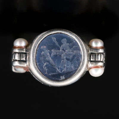 Sterling Glass Cameo and Pearl Ring