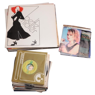 Bette Midler and Various Vinyl Pop Records Including Madonna and Wham!