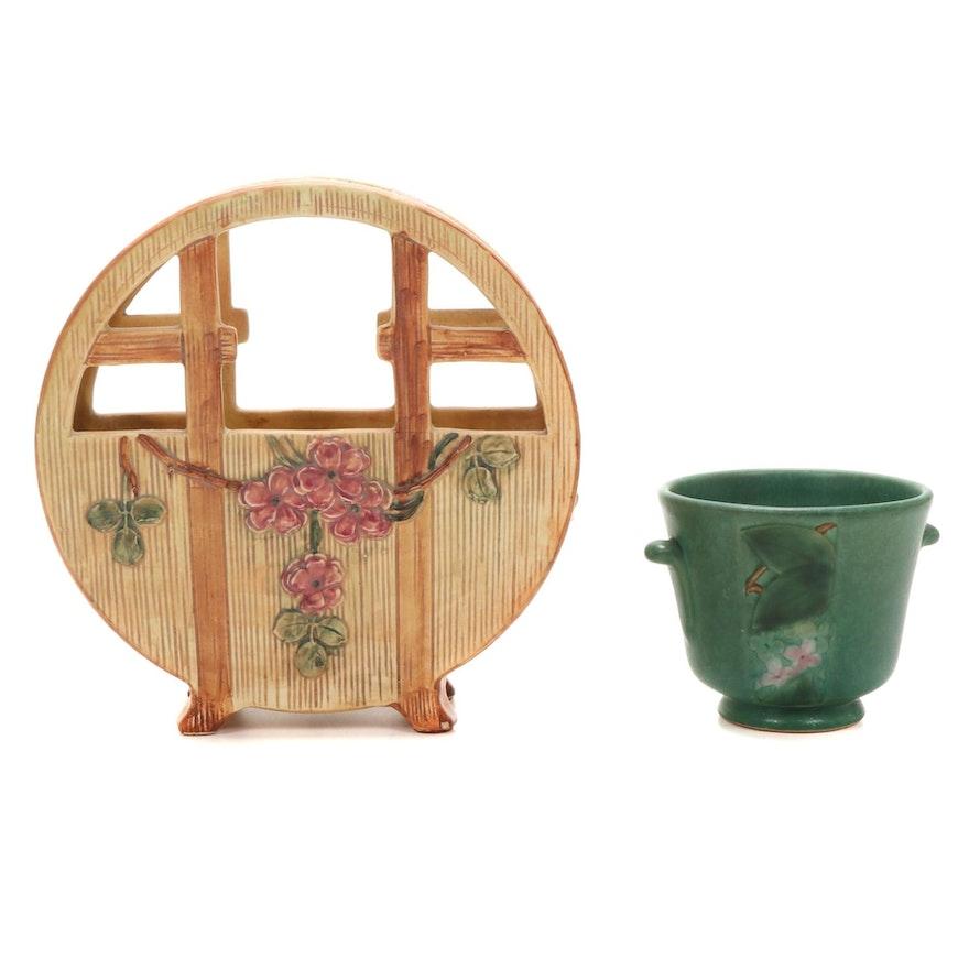 "Weller Pottery ""Velva"" Vase and Flat Basket Vase, Early 20th Century"