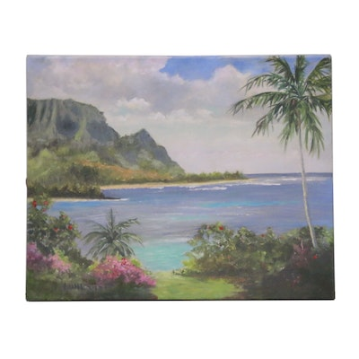 "Embellished Giclée after Dawn Lundquist ""Hanalei Bay Vista"""