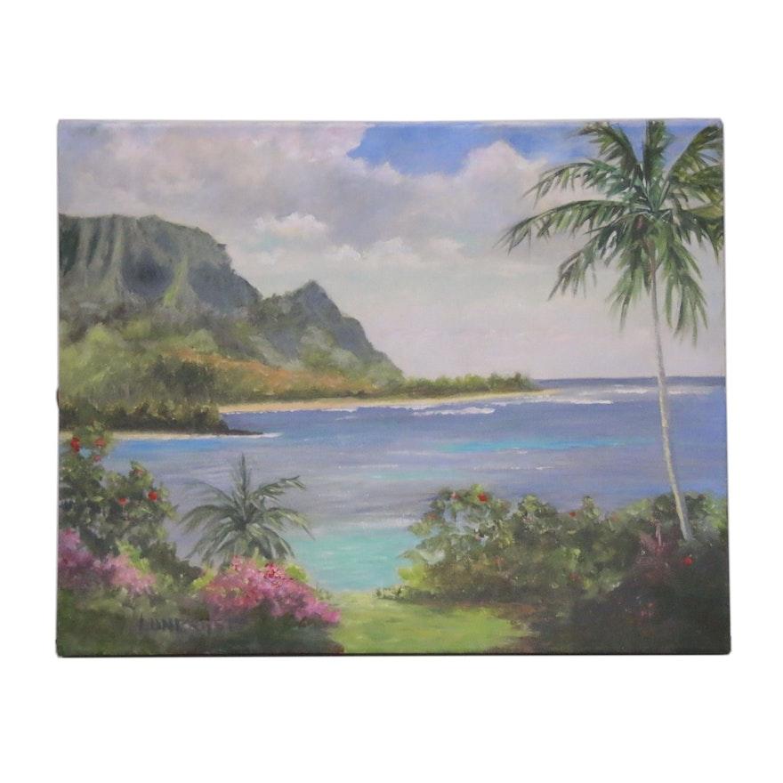 """Embellished Giclée after Dawn Lundquist """"Hanalei Bay Vista"""""""