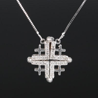 14K Diamond Convertible Jerusalem Cross Necklace