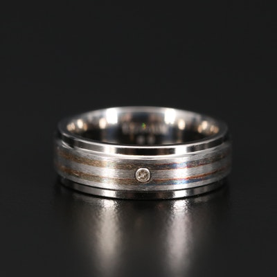 Titanium Bezel Set Diamond Band