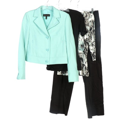 Escada Mint Cream Wool Jacket, Jersey Knit Tops and Black Cotton Blend Pants