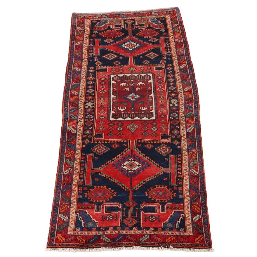 4'1 x 10'7 Hand-Knotted Caucasian Kazak Wool Long Rug