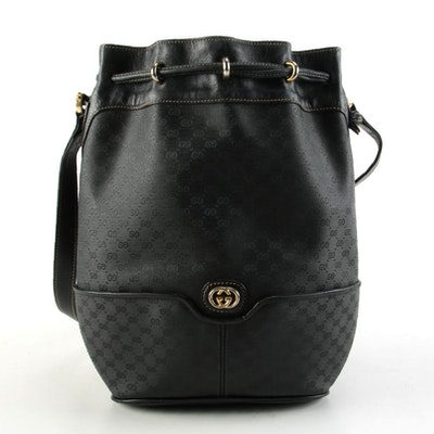 Gucci Black Micro GG Coated Canvas and Leather Bucket Bag