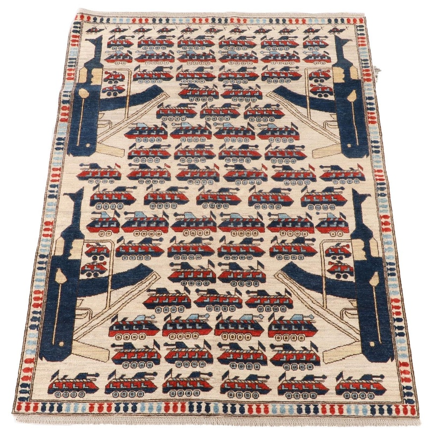 5'7 x 8'1 Hand-Knotted Afghan Wool War Rug