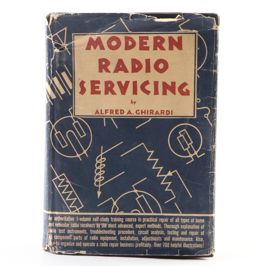 """First Edition """"Modern Radio Servicing"""" by Alfred Ghirardi with Dust Jacket, 1935"""