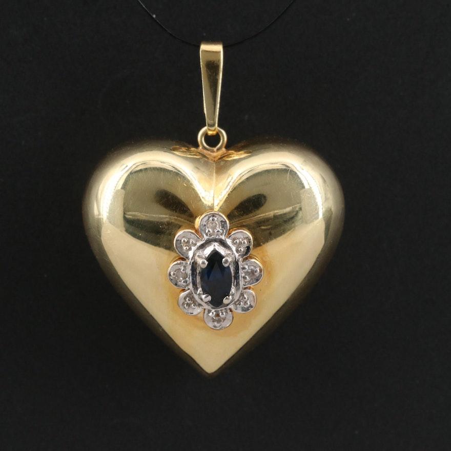 14K Sapphire and Diamond Puff Heart Pendant