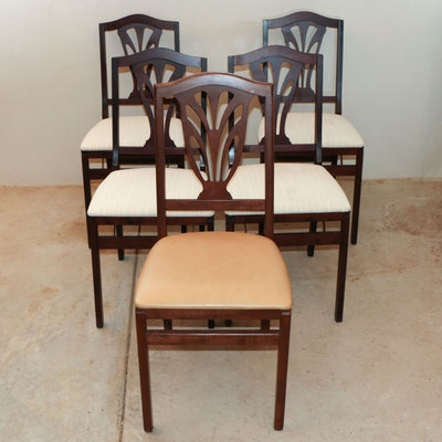 Four Stakmore Co. Wood Folding Dining Chairs with Stationary Chair