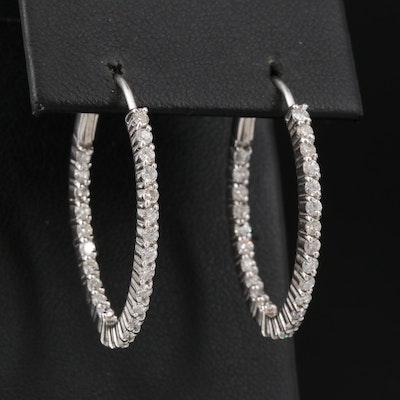 14K 1.17 CTW Diamond Inside-Out Oval Hoop Earrings