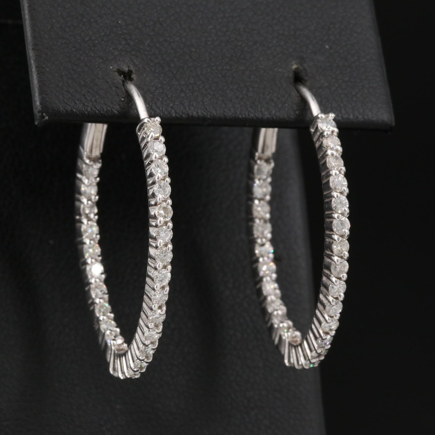 14K 1.17 CTW Diamond Inside-Out Oval Hoop Earrings