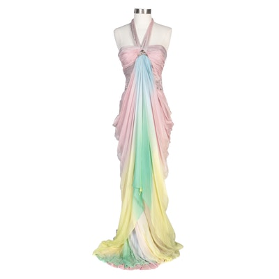 Alberto Makali Pastel Ombré Draped Halter Evening Gown with Wrap