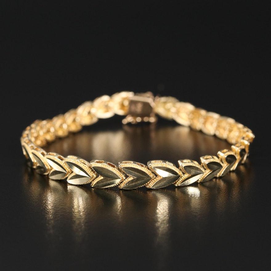 14K Chevron Leaf Link Bracelet