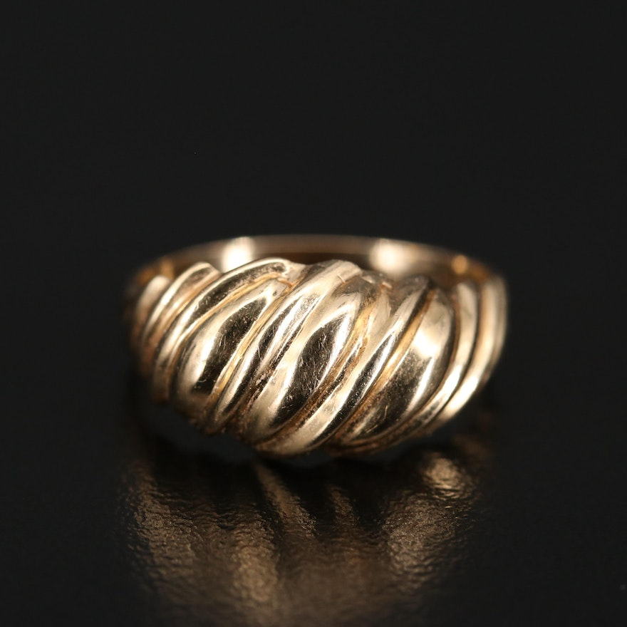 14K Twisted Dome Ring