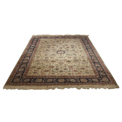 6'8 x 10'3 Hand-Knotted Persian Isfahan Floral Wool and Silk Rug