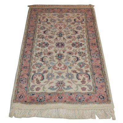 2'1 x 4'4 Hand-Knotted Indian Kashan Wool Rug
