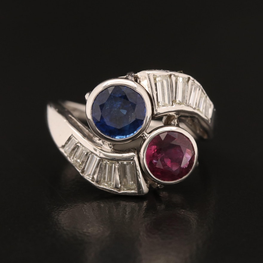 1.28 CT Ruby, 1.64 CT Sapphire and 1.09 CTW Diamond Ring with GIA Reports