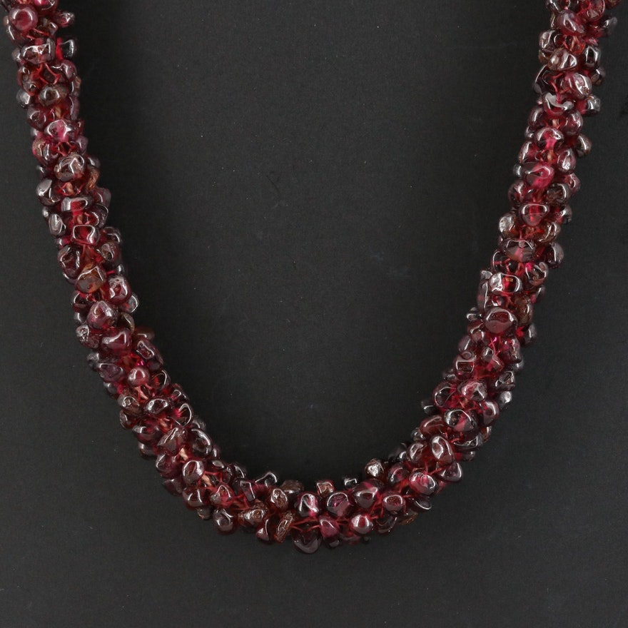 Rhodolite Garnet Woven Endless Necklace