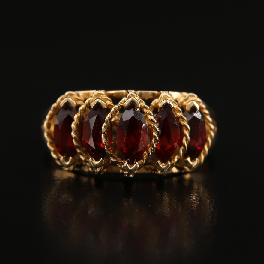 14K Garnet Ring with Twisted Rope Setting