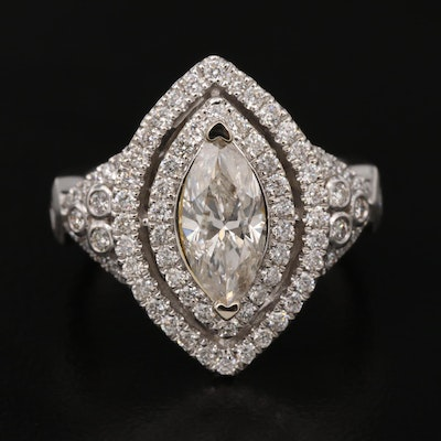 14K 2.18 CTW Diamond Navette Ring