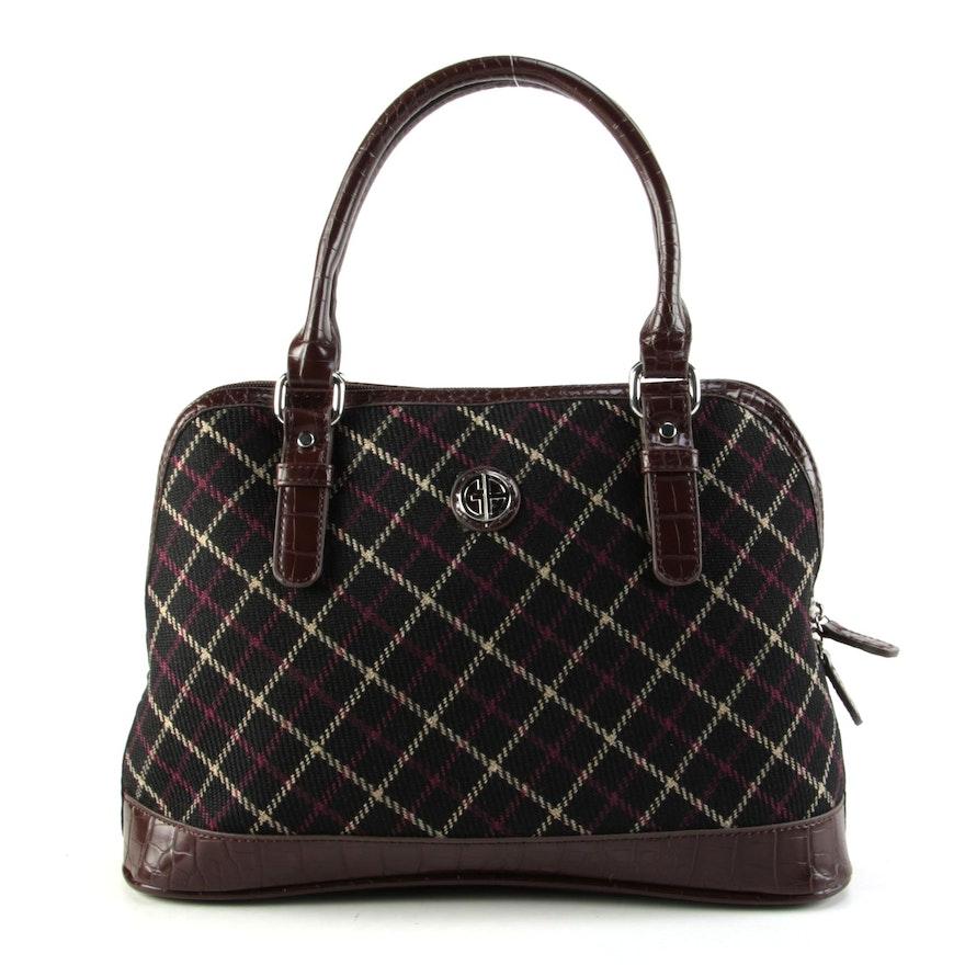 Giani Bernini Black and Embossed Brown Vegan Leather Trim Top Handle Bag