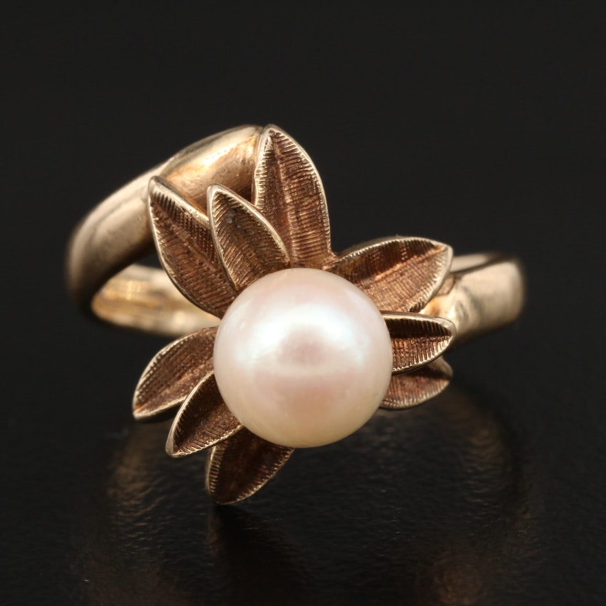 10K Pearl Floral Bypass Ring