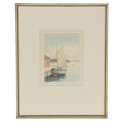 Charles Frederick Whitney Nautical Watercolor Painting of Sailboat at Harbor