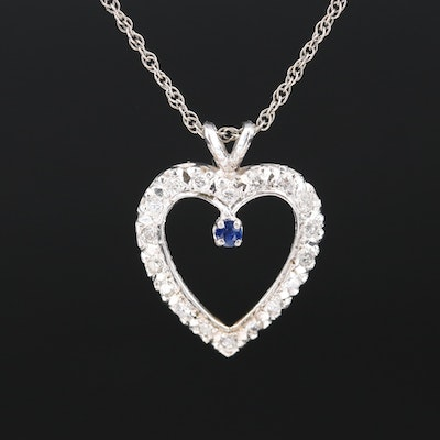 14K Diamond and Sapphire Heart Pendant Necklace