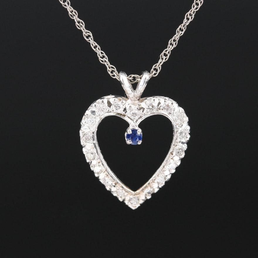 14K Diamond and Sapphire Heart Pendant Necklace